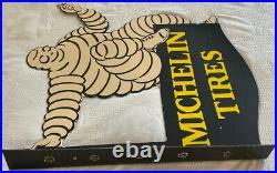Vintage Michelin Tires Porcelain Sign Bibendum Flange Double Sided Motor Oil Gas