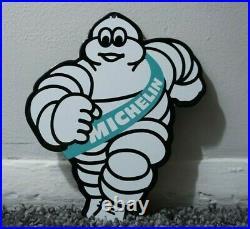 Vintage Michelin Tires Porcelain Sign Gas Oil Service Station Pump Rare Die Cut