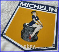Vintage Michelin Tires Porcelain Sign Girl Bibendum Gas Station Motor Oil