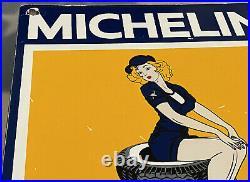 Vintage Michelin Tires Porcelain Sign Pin Up Girl Bibendum Gas Station Motor Oil