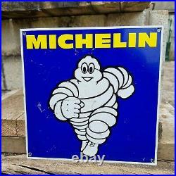 Vintage Michelin Tyre Tin Sign Garage Advertising Automobilia Motoring Bibendum