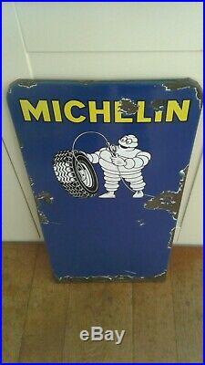 Vintage Michelin Tyres Enamel Sign (original) Automobilia (bibendum/tyre)