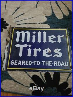Vintage Miller Tires Porcelain Advertising Flange Sign