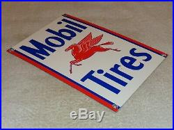 Vintage Mobil Mobilgas Tires + Pegasus 11 3/4 Porcelain Metal Gasoline Oil Sign