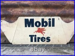 Vintage Mobil Tires Pegasus Metal Sign Advertising 7 1/2 X 22 Gas Station Oil