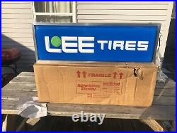 Vintage NOS Lee Tires Lighted Advertising Store Display Sign Gas Oil