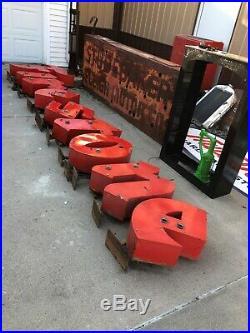 Vintage ORIGINAL PORCELAIN Large FIRESTONE NEON Letters Sign OLD Tire GAS Oil