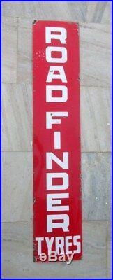 Vintage Old Rare 60'' Long Road Finder Tyre Ad Porcelain Enamel Sign Board