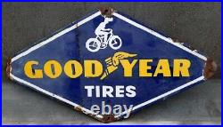 Vintage Old Rare Good Year Tires Diamond Cut Shape Porcelain Enamel Sign Board