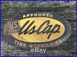 Vintage Original 1940s US Tires Retreads Tires US Caps Metal Sign Gas Double
