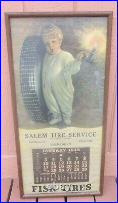 Vintage Original 1949 FISK TIRE Time to Retire Calendar Sign 17 W x 34 Tall