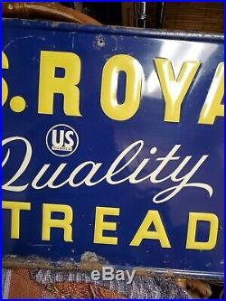 Vintage Original 1950's US Royal Quality Retreads Tires Embossed Metal Sign Gas