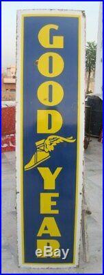 Vintage Original 72'' Good Year Tyre Oil Gas Station Enamel Porcelain Sign Board