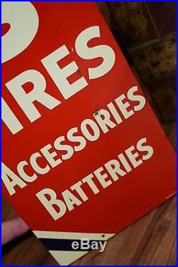 Vintage Original Atlas Tires Batteries Tin Sign Nice shape Gas Oil Advertising