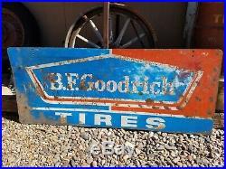 Vintage Original B. F. Goodrich Tires Advertising 48 Metal Oil Gas Station Sign