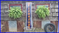 Vintage Original CLEAN Firestone Porcelain Sign Vertical 6ft 72 Tall Gas Tires