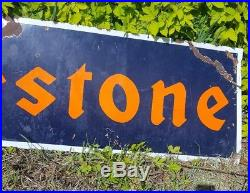 Vintage Original Firestone Enamel Tire sign Lg. 6 foot- 72 in. By 21 in. 1930s USA