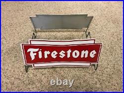 Vintage Original Firestone Tires Metal Rack Stand Sign