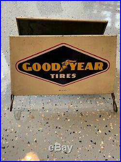 Vintage Original GOODYEAR Motorcycle Tire Display Rack Wire Rack 2 signs USA