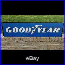 Vintage Original Goodyear Tires Dealer Double Sided Metal Sign Gas Station Oil