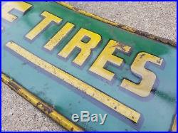 Vintage Original Lee Tires Metal Sign Oil Gas Service Station Packard