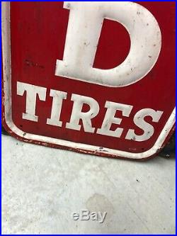 Vintage Original Mansfield Tires Embossed Metal Not Porcelain Advertising Sign