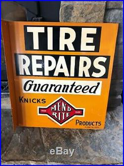 Vintage Original Mend Rite Tire Repair Flange Sign Gas Oil Advertising Metal