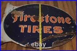 Vintage Original PORCELAIN FIRESTONE TIRES Advertising Flange Gas Station SIGN