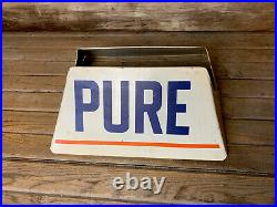 Vintage Original PURE Oil DS Metal Tire Display Stand Sign Gas & Oil