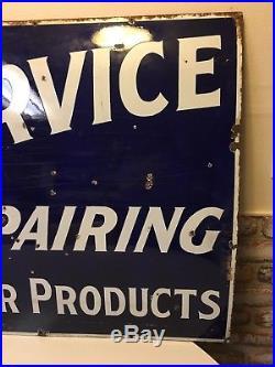 Vintage Original Porcelain White Star Products Tire Sign RARE 54 X 30