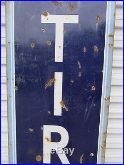 Vintage Original US Tire Sign HUGE 8' x 2' Vertical Porcelain Sign 1930s