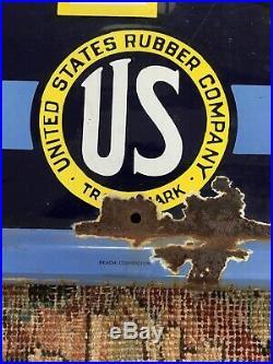 Vintage Original US Tires Porcelain Embossed Ribbon Banner 6 Ft