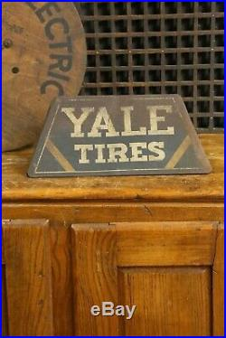 Vintage Original Yale Tires Sign Advertising Auto Gas Oil Tire Display Tin Sign