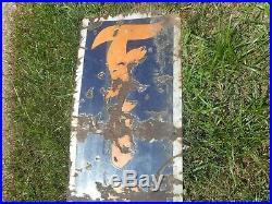 Vintage PORCELAIN 8' Firestone Tires Gas Station Oil Vertical Advertising SIGN
