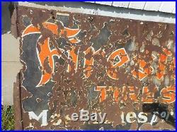 Vintage PORCELAIN FIRESTONE TIRES GAS STATION OIL ADVERTISING BARN HANGER SIGN