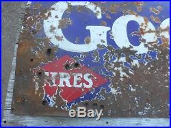 Vintage PORCELAIN GOODRICH SILVERTOWNS ADVERTISING GAS OIL TUBES TIRE SIGN