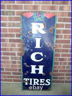 Vintage Partial BF Goodrich Tires Porcelain Advertising Sign 45 x 17 3/4