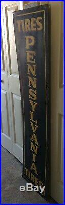 Vintage Pennsylvania Tires Car Truck Advertising Vertical Tin Sign