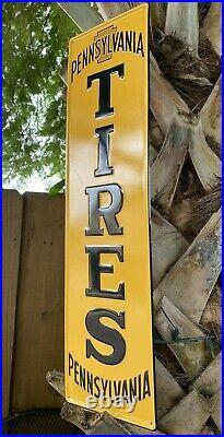 Vintage Pennsylvania Tires Embossed Metal Sign Porcelain USA Keystone Gas Oil
