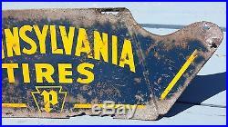 Vintage Pennsylvania Tires Metal Display Sign Very Rare 22x8 Gas Station Garage