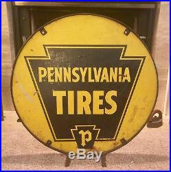 Vintage Pennsylvania Tires Sign 2 Sided
