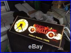 Vintage Pirelli Tires Lighted Sign and clock