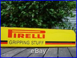 Vintage Pirelli Tyre Metal Advertising Garage Shop Sign PIRELLI GRIPPING STUFF
