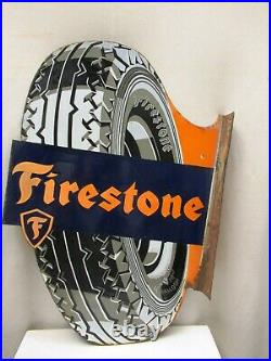 Vintage Porcelain Enamel Sign Firestone Tire Tyre Double Sided Germany Dia-Cut