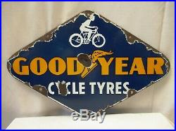 Vintage Porcelain Enamel Sign Good Year Cycle Tire Tyres Hexagon Shape Collect4