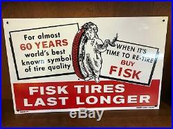 Vintage Porcelain Fisk Tire Sign
