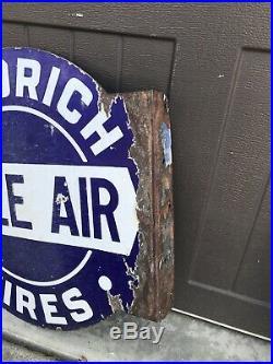 Vintage Porcelain GOODRICH TIRES FREE AIR Sign Gas Oil Gasoline Sign Eco Meter