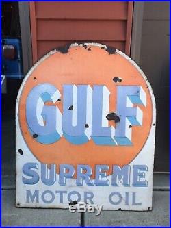 Vintage Porcelain GULF SUPREME TOMBSTONEGasoline OIL TIRE AUTO Sign