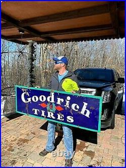 Vintage Porcelain Goodrich Tire Battery Sign Gasoline Gas Oil 60 in