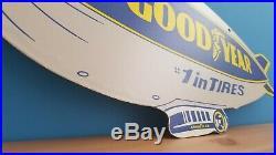Vintage Porcelain Goodyear Tires Service Station Double Sided Dealership Sign